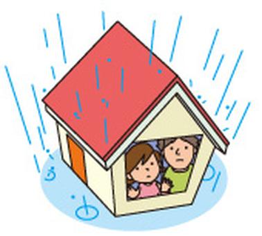 Rain and house