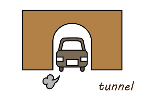Tunnel and car
