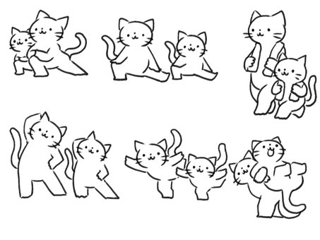 [Line drawing] Cat parents and children doing warm-up exercises