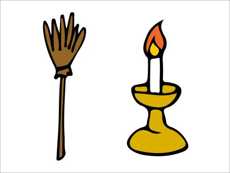 Broom and candle