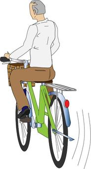 Senior man riding a bicycle