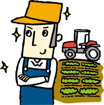 Tractor and farmer men