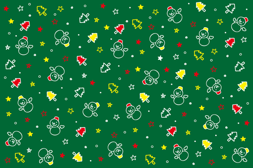 Christmas snowman green background