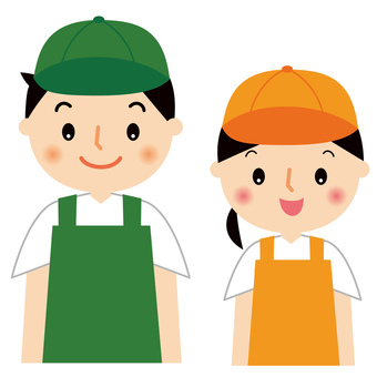 Clerk male and female upper body illustration in apron