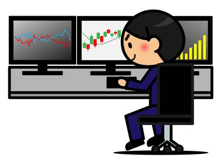 Stock, FX, personal investment and men illustration