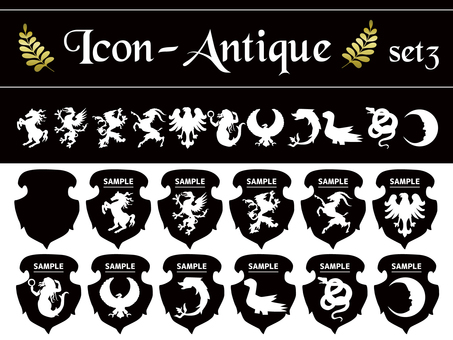 Antique heraldry set 03