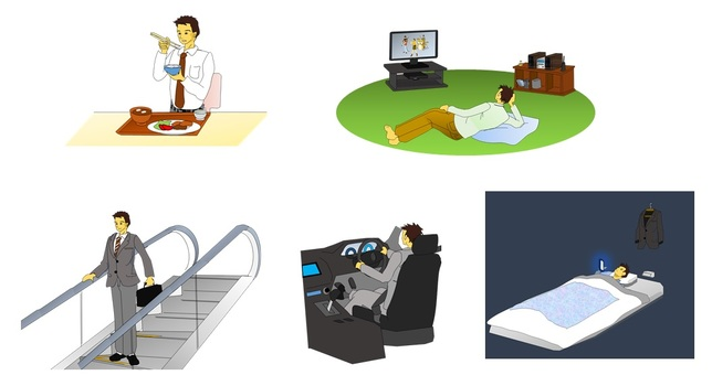 Lack of exercise, a day of office workers