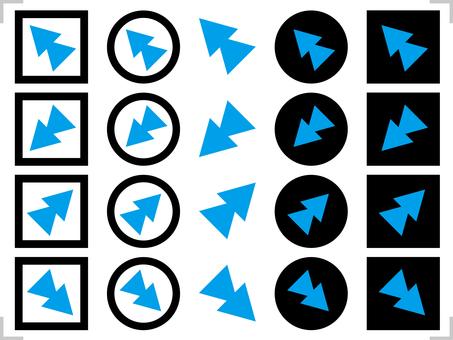 Arrow icon 45 degrees diagonal set black, blue