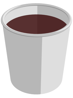 Paper cup containing mouthwash