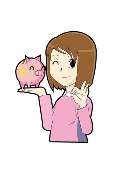 Women pig piggy bank OK