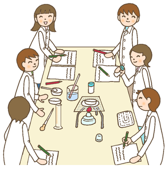 Elementary school science science experiment 2 white coat
