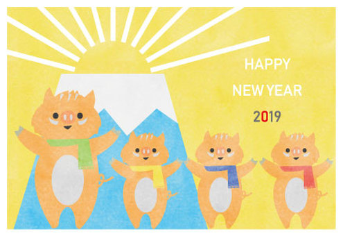 New Year's card 2019 wild boar