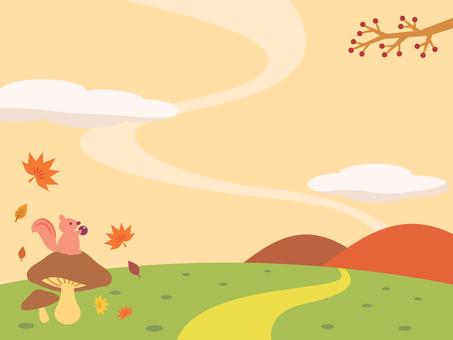 Illustration of squirrel and autumn landscape