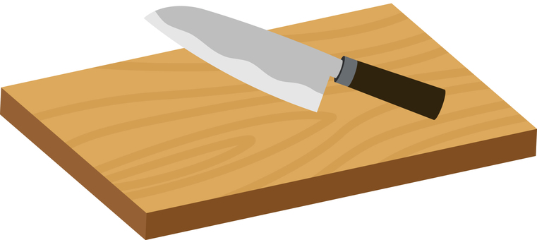 Kitchen knife and chopping board