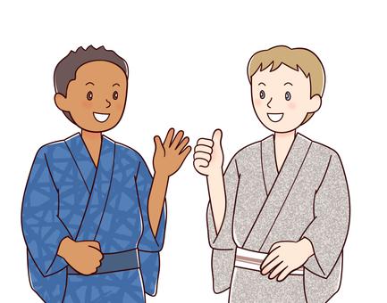 Foreigners in yukata (boys)