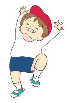 Illustration of a boy rejoicing in gym clothes