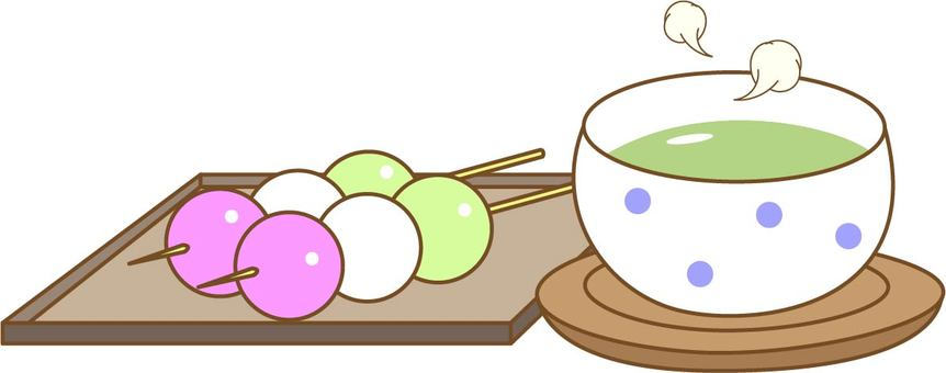 Three-color dumplings and tea