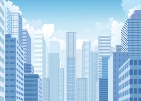 빌딩 푸른 하늘 배경