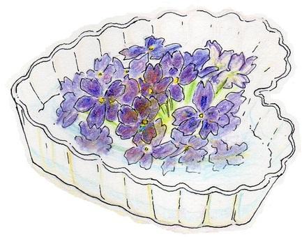 在玻璃容器的紫羅蘭