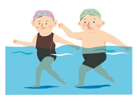 Underwater walking in the pool Elderly people