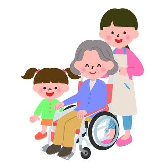 Wheelchair grandma and care worker and child