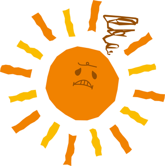 Annoyed angry face character of the sun