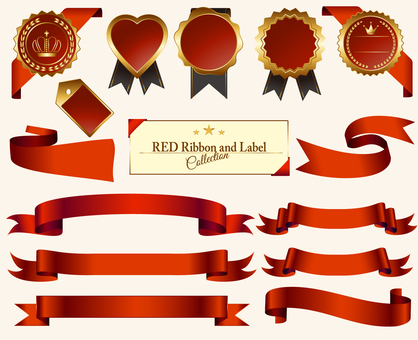 Red Medal & Ribbon Set