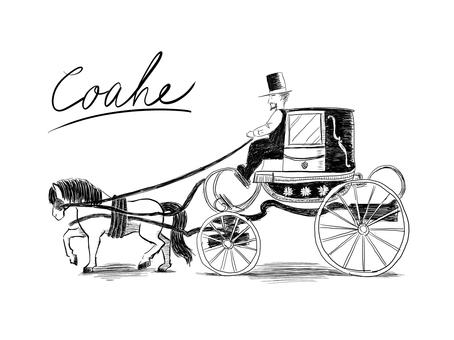 馬車の線画2