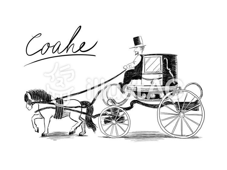 馬車の線画2のイラスト