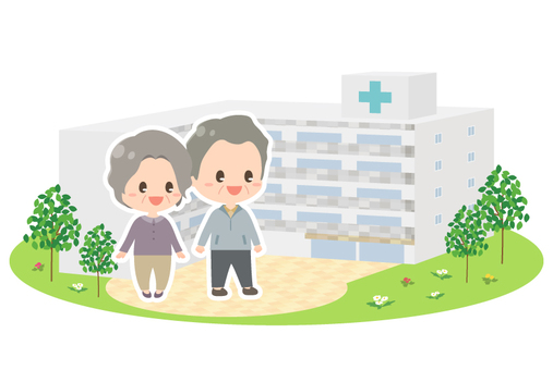The appearance of elderly couple and hospital