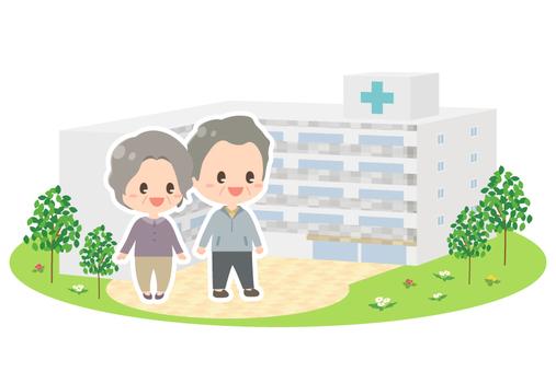 老年夫婦和醫院的外觀