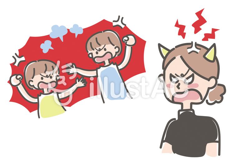兄弟喧嘩 怒る母 怒る先生のイラスト