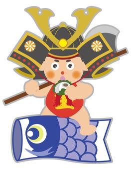 Kintaro who rides a carp streamer and eats Kashiwo cake