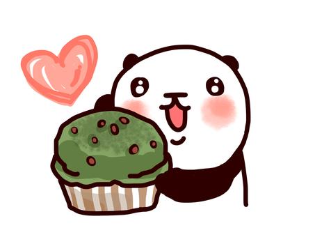 Matcha muffins and pandas