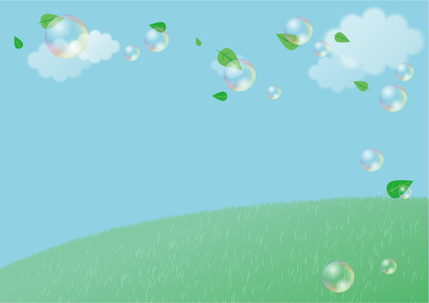 Background of meadow and soap bubble