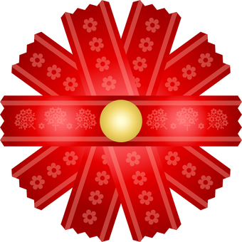 Ribbon flower decoration (red)