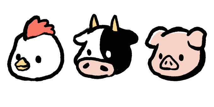 Chicken, cow and pig