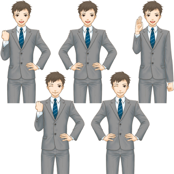 Standing picture pose set (Suit male) - Smile