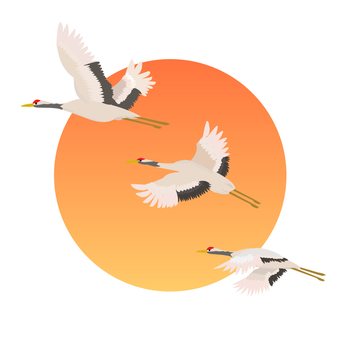 Hinomaru and three cranes