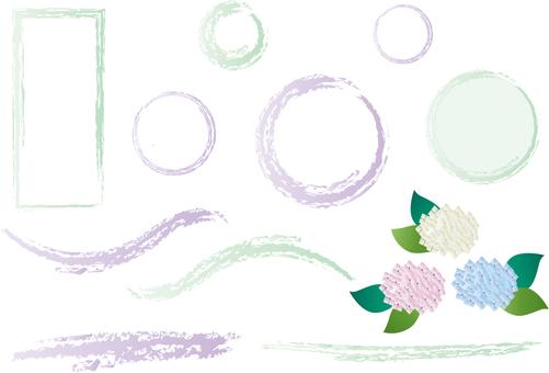 Hydrangea and purple, green frame