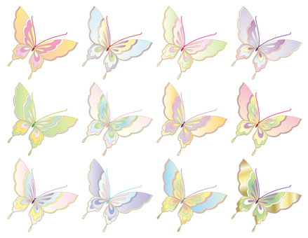 Butterfly 02 pale color _ kimono pattern _ embroidery style