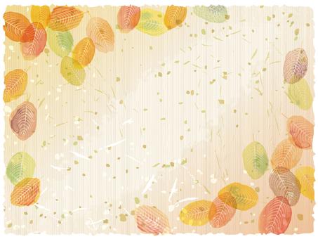 フレーム枠秋紅葉背景飾り水彩和紙和風和柄