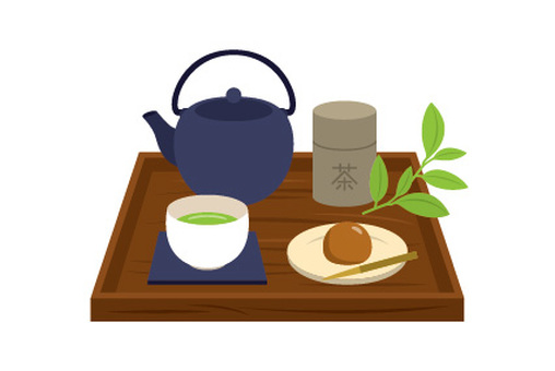 Japanese tea set blue