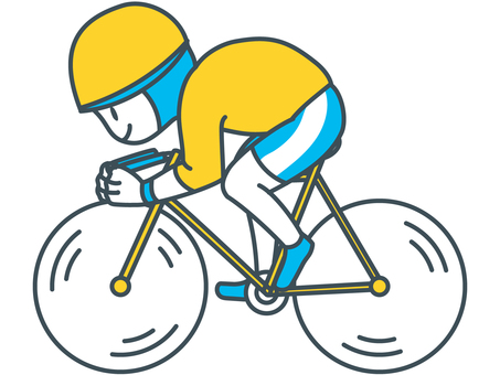 Bicycle athlete boy rowing a bicycle with blue yellow white leaning forward