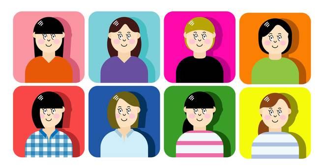 Female 8 people set icon
