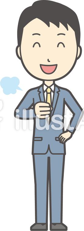 スーツ男性ネイビー-174-全身のイラスト