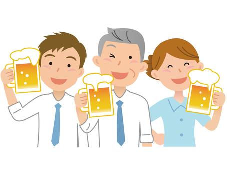 60611. Three men and women, a beer garden