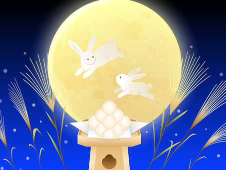 Bouncing rabbit · Full moon · Dumpling · Susuki background