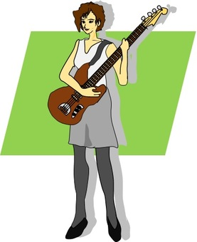 A woman playing a bass guitar