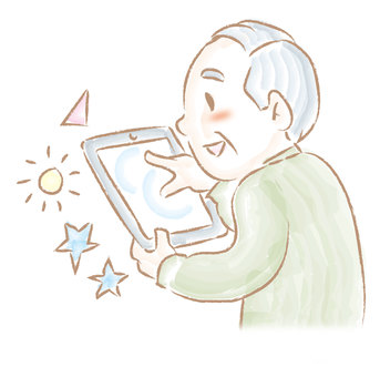 An old man who operates a tablet